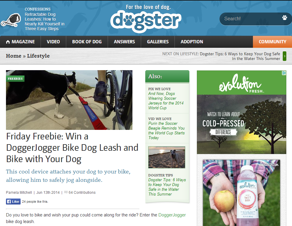 Dogster.com Features the DoggerJogger as Friday Freebie, June 13, 2014